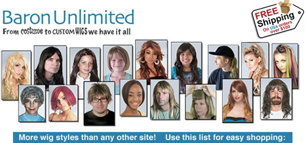 Discount mens wigs, womens wigs, childrens wigs, and costume wigs! Curly wigs, straight wigs, short wigs, long wigs, human hair wigs and synthetic wigs.